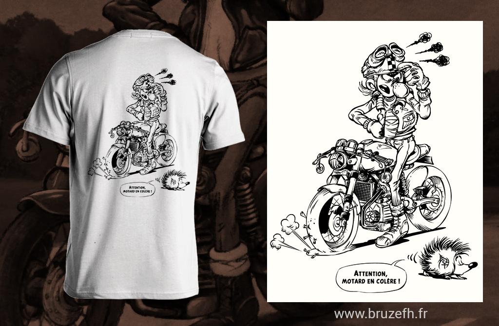 Hérisson et motard en colère, dessin vectoriel par Bruzefh
