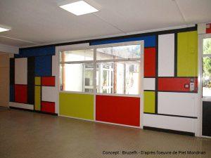 Décoration murale inspirée de Piet Mondrian - AFPA d'Albi