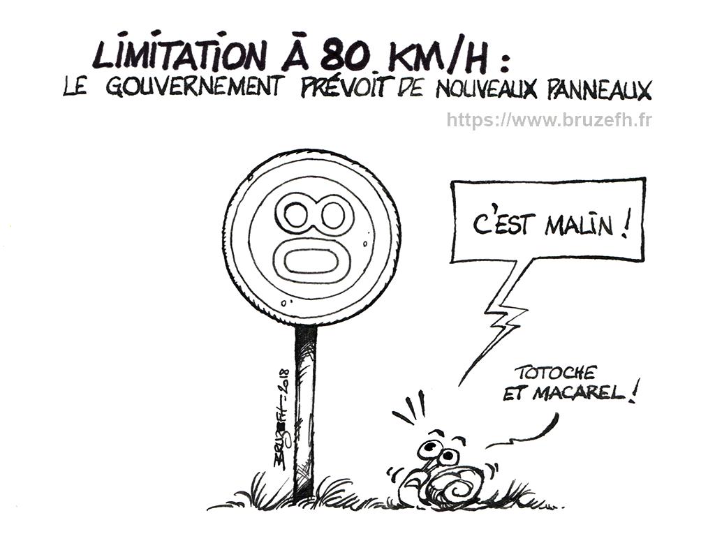 Dessin d'actualité contre le 80 km/h par Bruzefh