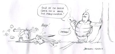 Croquis Le lièvre et la tortue, par Bruzefh