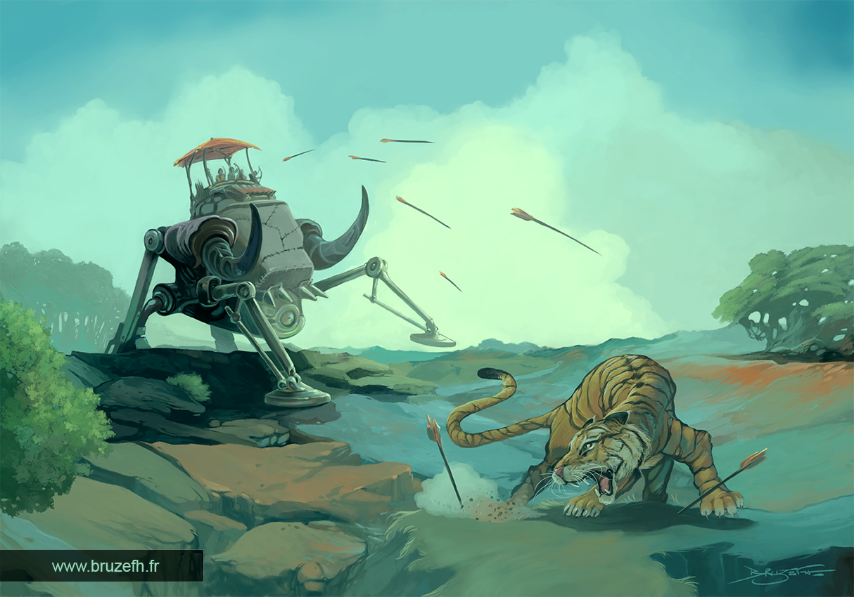 Chasse au tigre, par Bruzefh