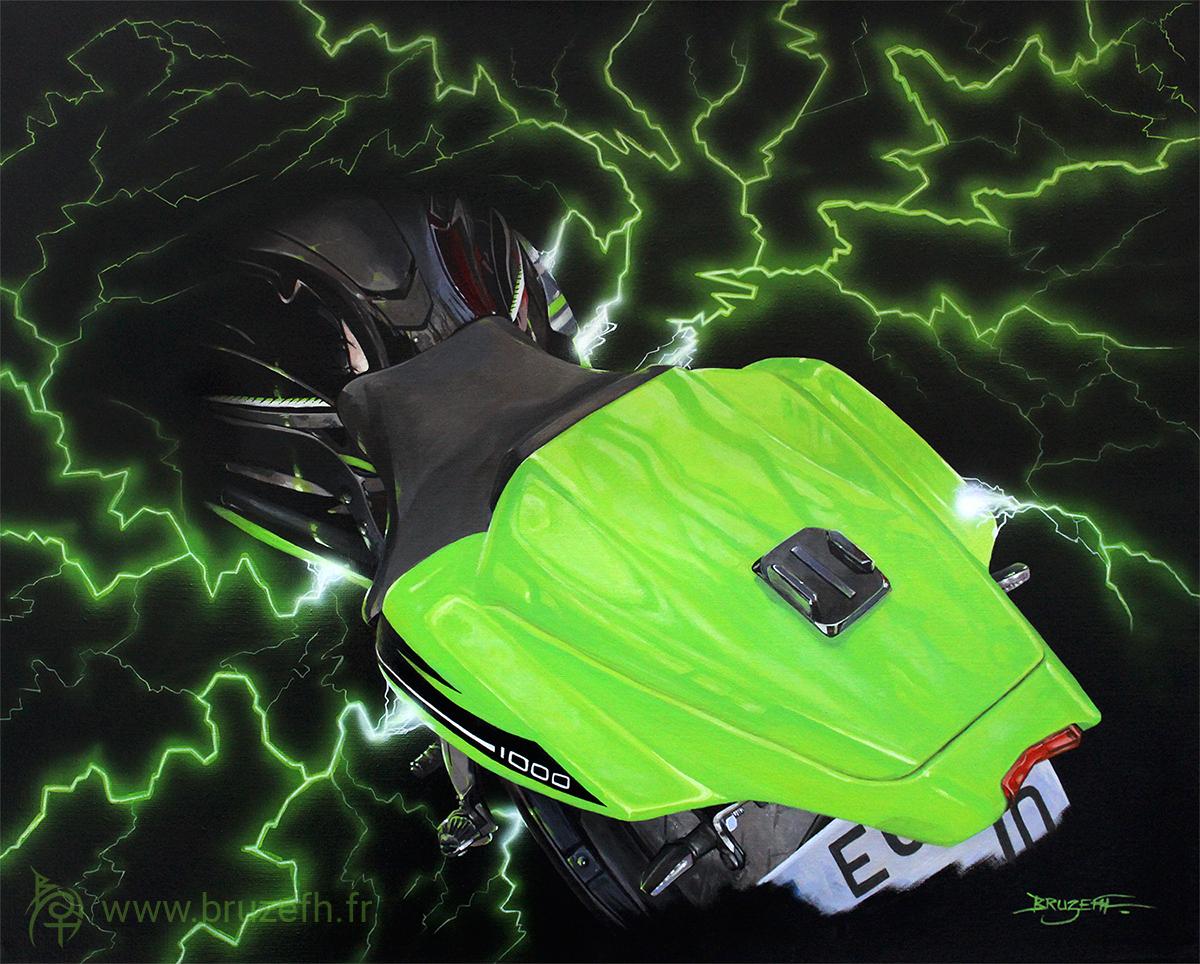 Ninja 1000 ZX-10R, peinture acrylique sur toile de Bruzefh