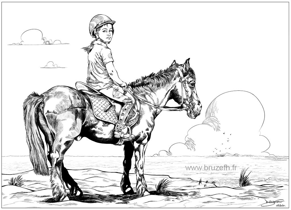 Fillette et cheval, par Bruzefh