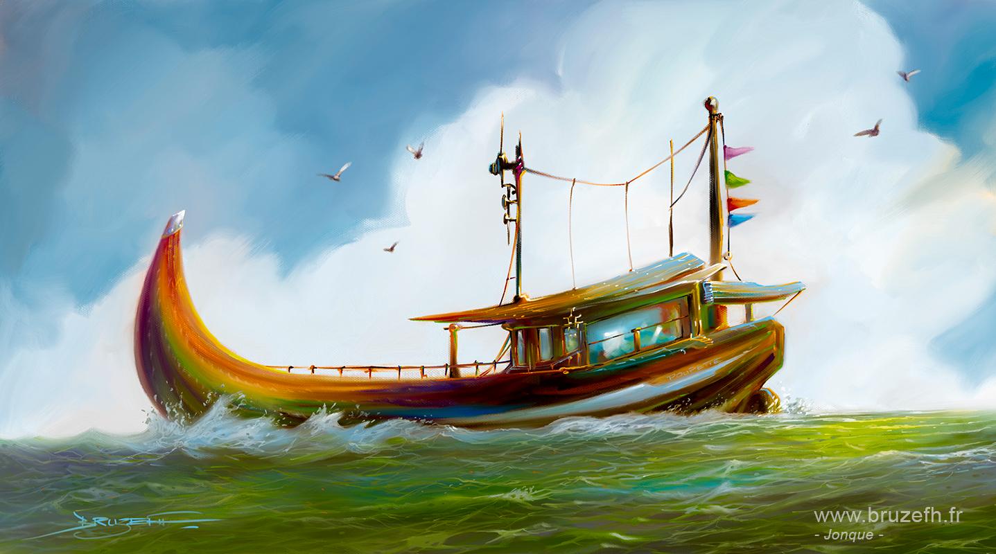 Jonque, peinture numérique par Bruzefh